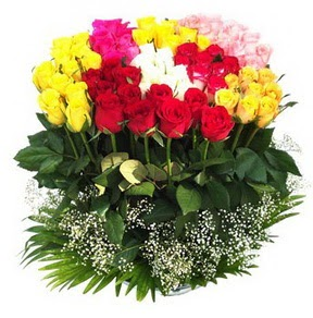 Erzincan çiçekçiler  51 adet renkli güllerden aranjman tanzimi