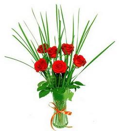 Erzincan çiçek mağazası , çiçekçi adresleri  6 adet kırmızı güllerden vazo çiçeği