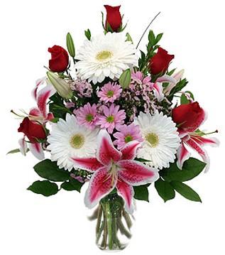 Erzincan çiçekçiler  1 dal kazablanka 5 gül ve kırçiçeği vazosu