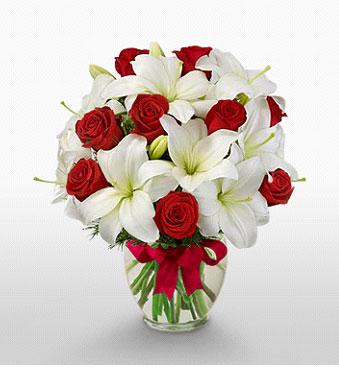 Erzincan güvenli kaliteli hızlı çiçek  1 dal kazablanka 11 adet kırmızı gül vazosu