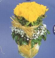 Erzincan hediye çiçek yolla  Cam vazoda 9 Sari gül
