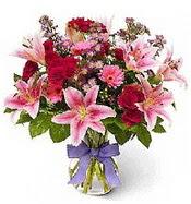 Vazo içerisinde karışık mevsim çiçeği  Erzincan online çiçekçi , çiçek siparişi