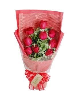 9 adet kırmızı gülden görsel buket  Erzincan kaliteli taze ve ucuz çiçekler