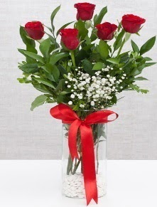 cam vazo içerisinde 5 adet kırmızı gül  Erzincan çiçek satışı