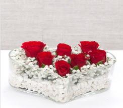 kalp içerisinde 7 adet kırmızı gül  Erzincan çiçek yolla