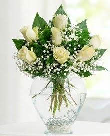 Cam içerisinde 7 adet beyaz gül  Erzincan çiçek satışı
