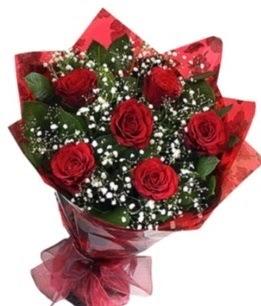 6 adet kırmızı gülden buket  Erzincan online çiçek gönderme sipariş