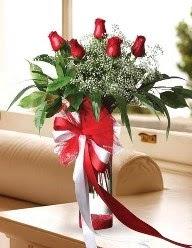 Camda 5 kırmızı gül tanzimi  Erzincan çiçek online çiçek siparişi