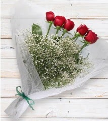 5 kırmızı gülden sade buket  Erzincan anneler günü çiçek yolla