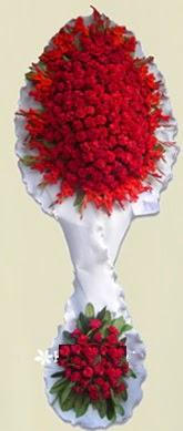Çift katlı kıpkırmızı düğün açılış çiçeği  Erzincan hediye çiçek yolla