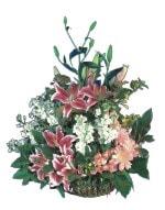 Erzincan çiçek gönderme  Pembe gerbera ve lilyum sepeti