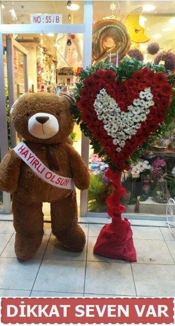 1.5 Metre peluş ayı ve Kalp  Erzincan 14 şubat sevgililer günü çiçek
