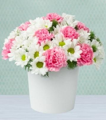 Seramik vazoda papatya ve kır çiçekleri  Erzincan online çiçekçi , çiçek siparişi