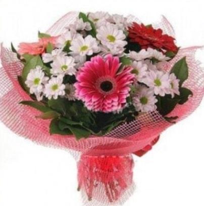 Gerbera ve kır çiçekleri buketi  Erzincan çiçek gönderme sitemiz güvenlidir