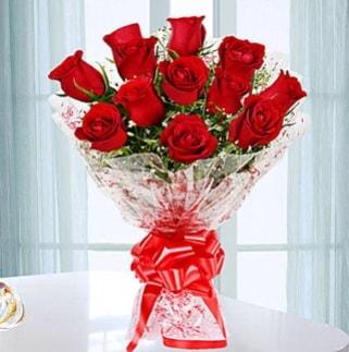 11 adet kırmızı gülden görsel şık buket  Erzincan kaliteli taze ve ucuz çiçekler