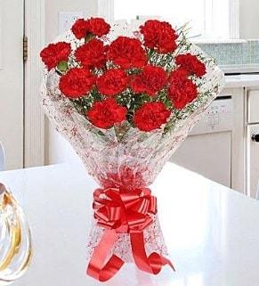 12 adet kırmızı karanfil buketi  Erzincan uluslararası çiçek gönderme