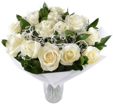 15 beyaz gül buketi sade aşk  Erzincan çiçek servisi , çiçekçi adresleri