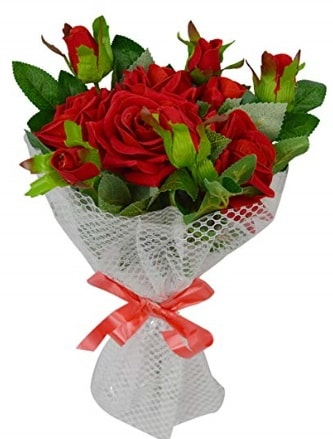 9 adet kırmızı gülden sade şık buket  Erzincan çiçek online çiçek siparişi