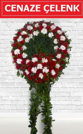 Kırmızı Beyaz Çelenk Cenaze çiçeği  Erzincan uluslararası çiçek gönderme