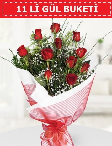 11 adet kırmızı gül buketi Aşk budur  Erzincan 14 şubat sevgililer günü çiçek