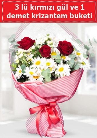 3 adet kırmızı gül ve krizantem buketi  Erzincan 14 şubat sevgililer günü çiçek