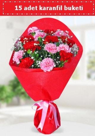 15 adet karanfilden hazırlanmış buket  Erzincan çiçek satışı