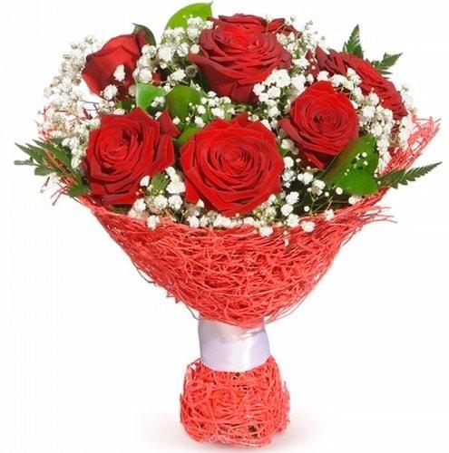 7 adet kırmızı gül buketi  Erzincan İnternetten çiçek siparişi