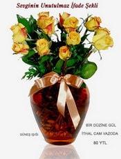 Erzincan çiçek yolla , çiçek gönder , çiçekçi   mika yada Cam vazoda 12 adet sari gül